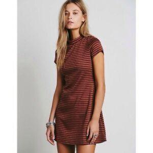 Free People Beach Striped Dress Short Sleeve Mini